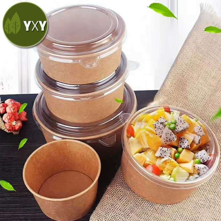 Disposable Kraft Paper Salad Bowl with Lid