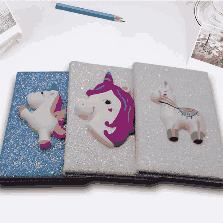 Notebooks: Custom 3D Cartoon Stationery, Glitter Cover