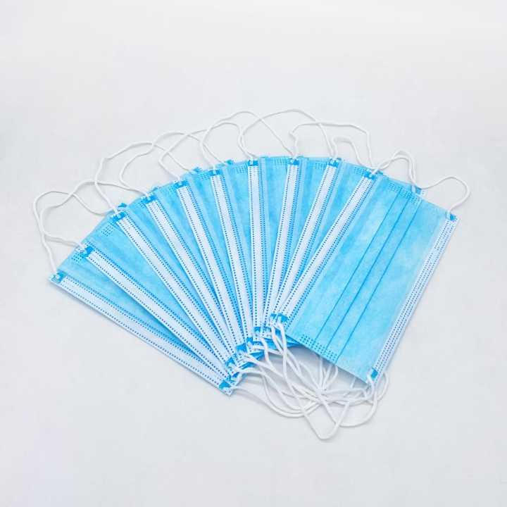 Face Mask 3 ply Disposable Non Woven Blue Color