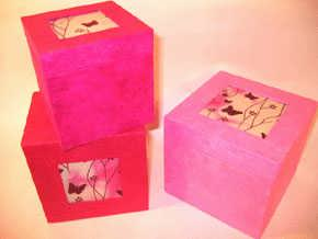 Pink Butterfly Square Box